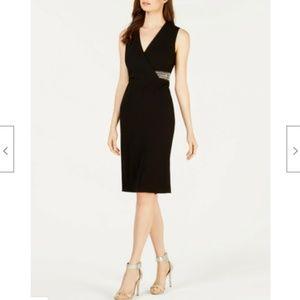 Calvin Klein Black Sheath Dress Embellished Waist